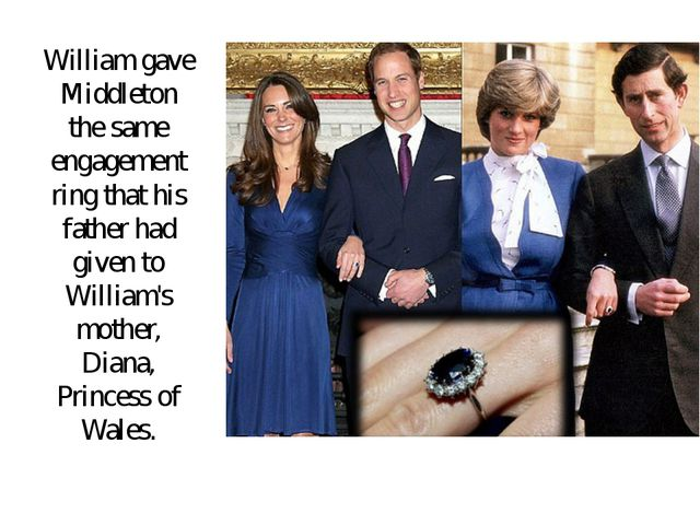 William gave Middleton the same engagement ring that his father had given to...