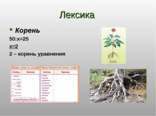 Лексика Корень 50:x=25 x=2 2 – корень уравнения
