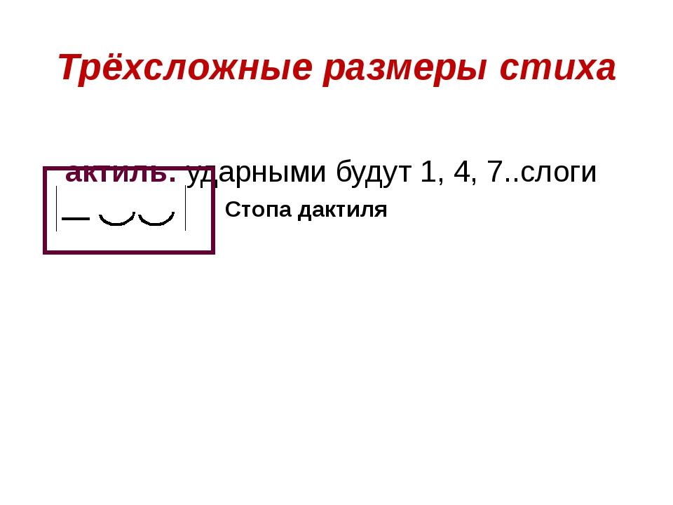 Дактиль: ударными будут 1, 4, 7..слоги Трёхсложные размеры стиха Стопа дактиля