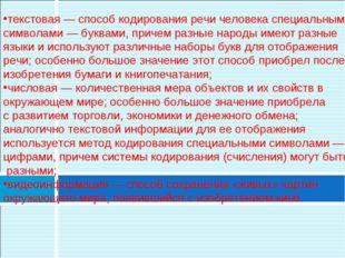 текстовая — способ кодирования речи человека специальными символами — буквами