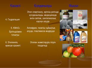 ҚасиетіҚолданылуыМысал 4. ГидратацияЭтил спиртіналу, еріткіш ретінде қолда