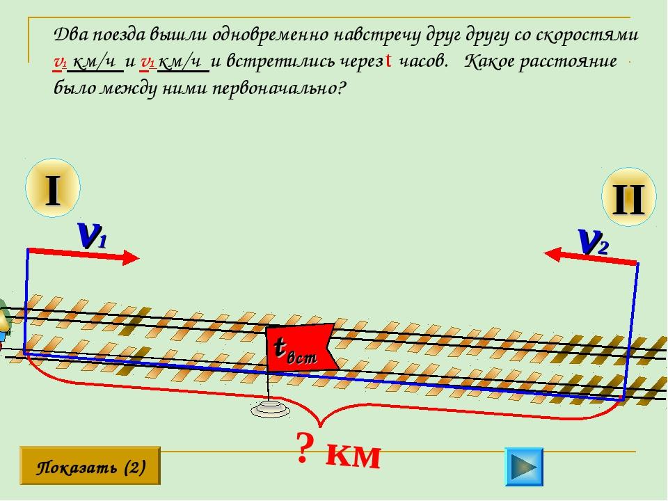 II Два поезда вышли одновременно навстречу друг другу со скоростями v1 км/ч и...
