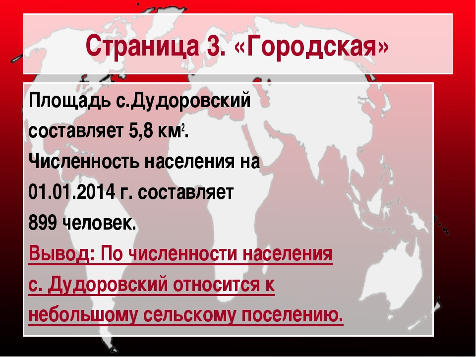 Страница 3. «Городская» Площадь с.Дудоровский составляет 5,8 км2. Численность...