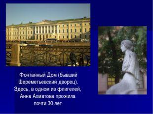 Фонтанный Дом (бывший Шереметьевский дворец). Здесь, в одном из флигелей, Анн