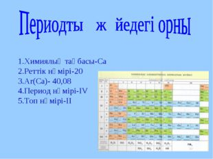 1.Химиялық таңбасы-Са 2.Реттік нөмірі-20 3.Ar(Са)- 40,08 4.Период нөмірі-ІV 5