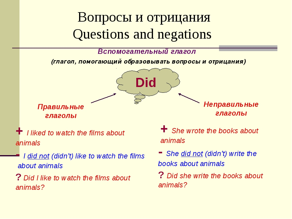 Вопросы и отрицания Questions and negations Вспомогательный глагол (глагол,...