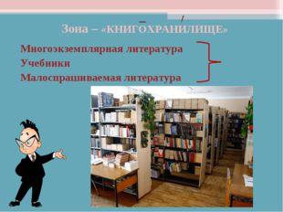 Зона – «КНИГОХРАНИЛИЩЕ» Многоэкземплярная литература Учебники Малоспрашиваема