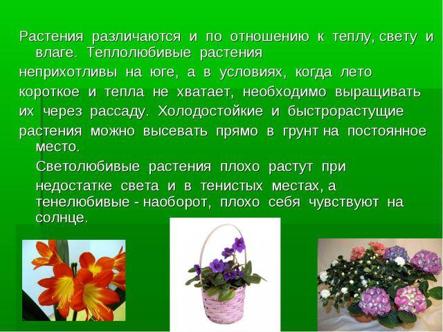 Растения различаются и по отношению к теплу, свету и влаге. Теплолюб...