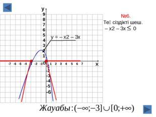 о х 1 2 3 4 5 6 7 -7 -6 -5 -4 -3 -2 -1 №6. Теңсіздікті шеш. – х2 – 3х 0 у = –