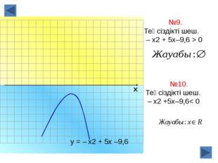 х №9. Теңсіздікті шеш. – х2 + 5х–9,6 > 0 у = – х2 + 5х –9,6 №10. Теңсіздікті