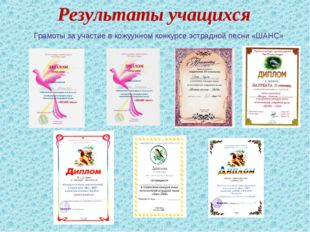 Результаты учащихся Грамоты за участие в кожуунном конкурсе эстрадной песни «