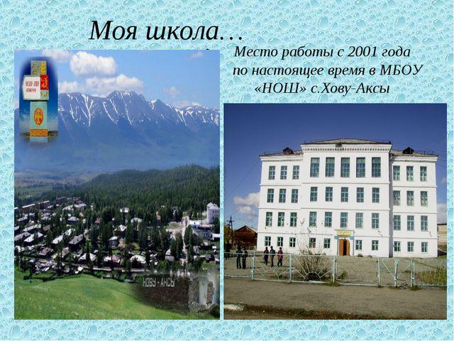 Моя школа… Место работы с 2001 года по настоящее время в МБОУ «НОШ» с.Хову-А...