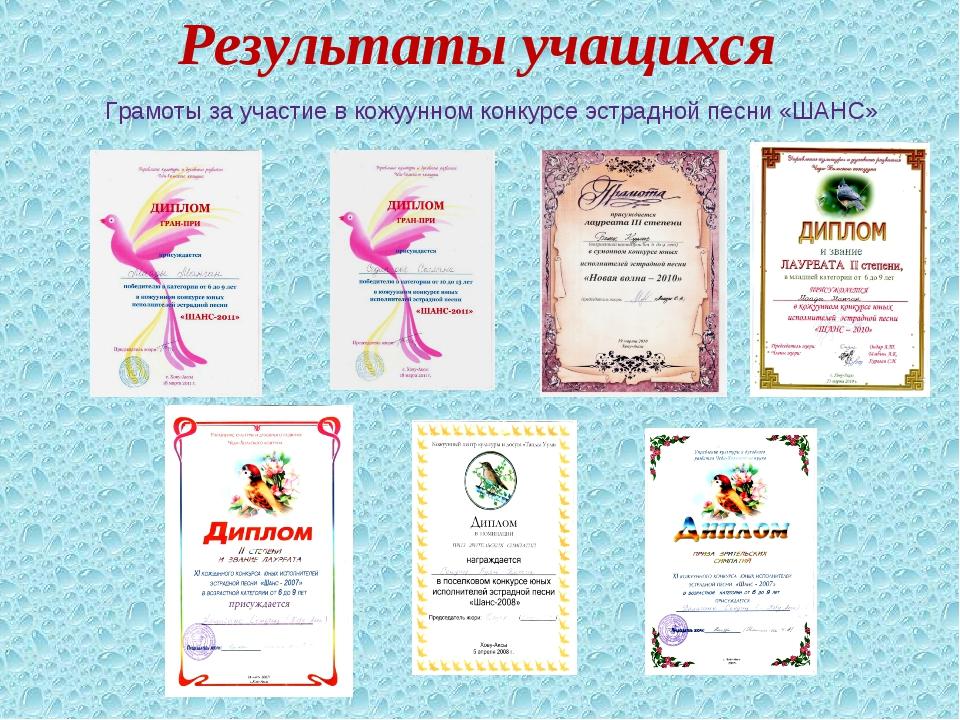 Результаты учащихся Грамоты за участие в кожуунном конкурсе эстрадной песни «...