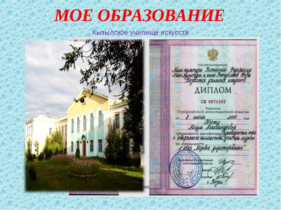 МОЕ ОБРАЗОВАНИЕ Кызылское училище искусств