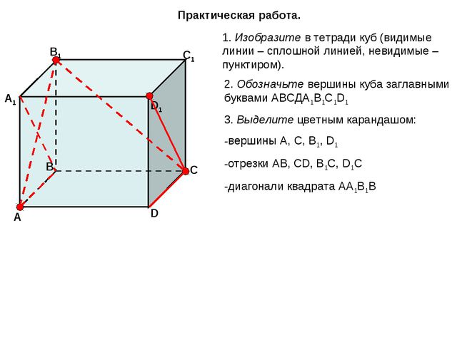 Практическая работа. 1. Изобразите в тетради куб (видимые линии – сплошной ли...