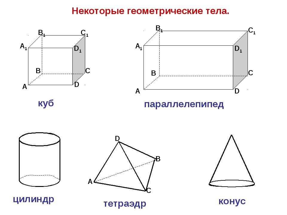Некоторые геометрические тела. А В С D D1 С1 В1 А1 куб А В С D А1 В1 С1 D1 па...