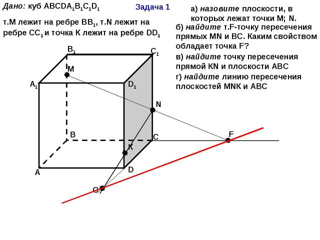 Задача 1 А В С D А1 В1 С1 D1 М N F К Дано: куб АВСDА1В1С1D1 т.М лежит на ребр...