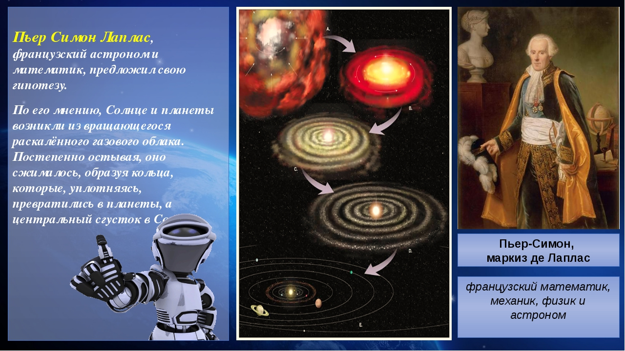 Пьер Симон Лаплас, французский астроном и математик, предложил свою гипотезу...