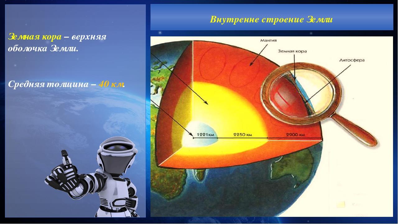 Земная кора – верхняя оболочка Земли. Средняя толщина – 40 км. Внутренне стр...