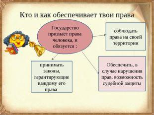 Кто и как обеспечивает твои права соблюдать права на своей территории Обеспеч