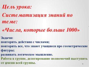 Цель урока: Систематизация знаний по теме: «Числа, которые больше 1000» Зада