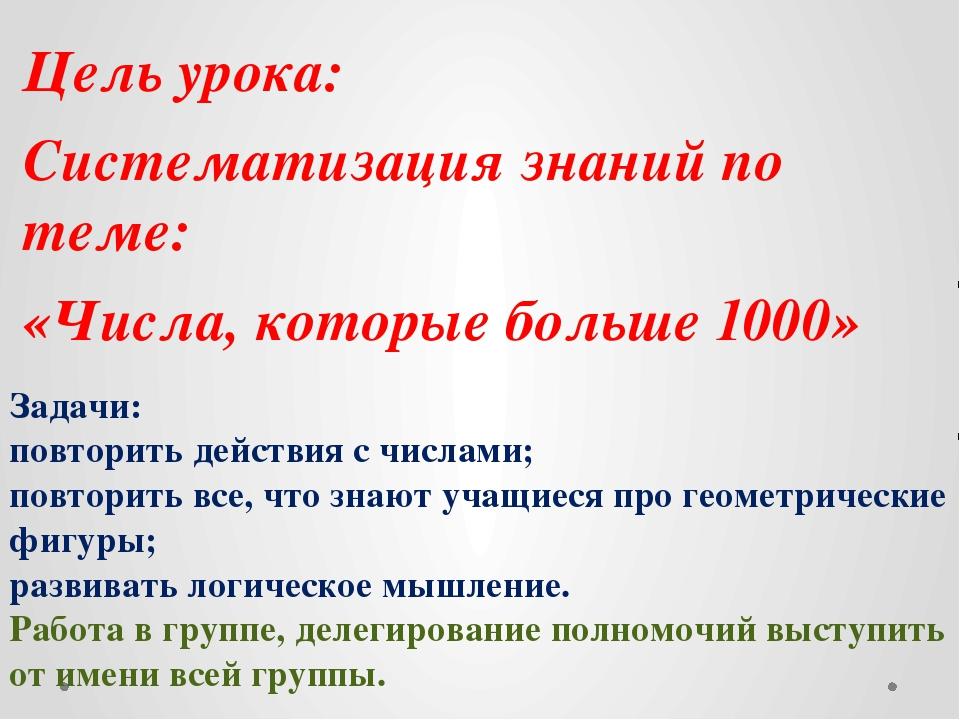 Цель урока: Систематизация знаний по теме: «Числа, которые больше 1000» Зада...