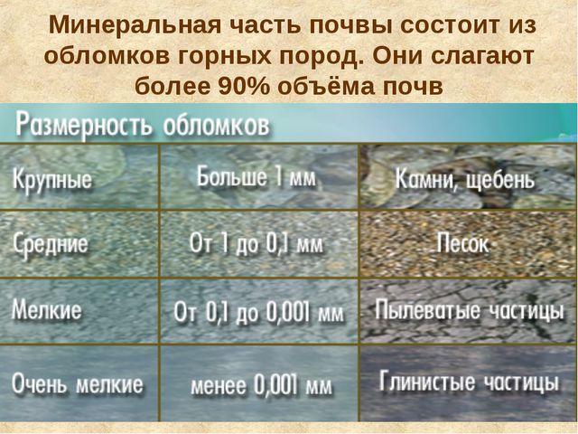 Минеральная часть почвы состоит из обломков горных пород. Они слагают более...