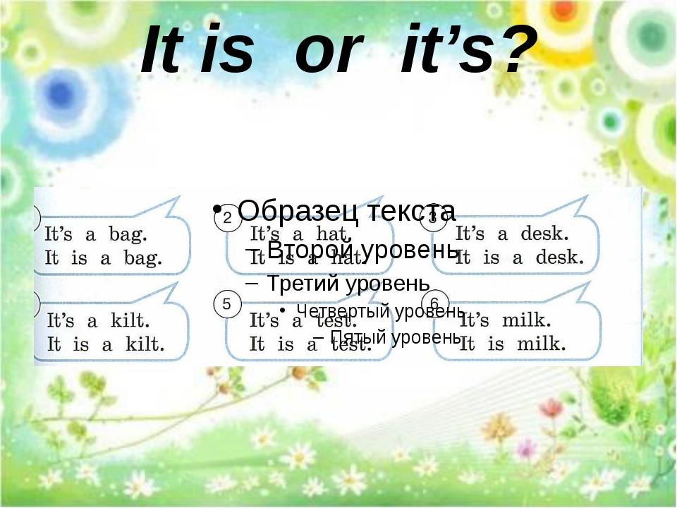 It is or it's?