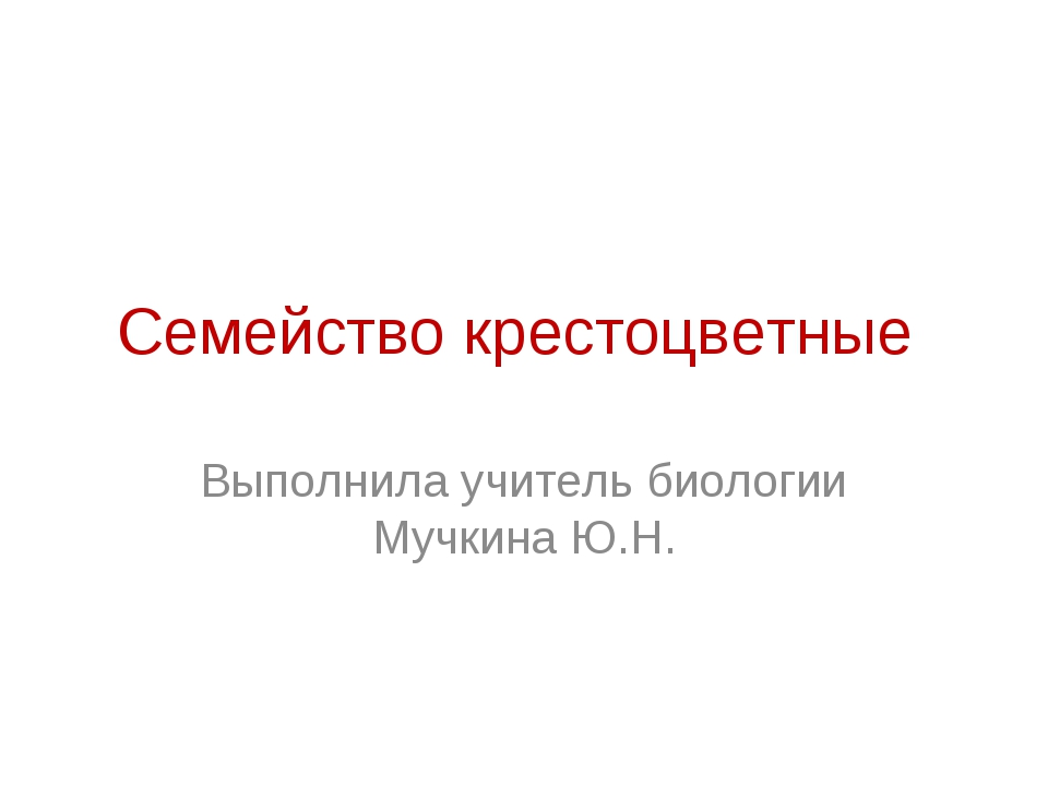 Семейство крестоцветные Выполнила учитель биологии Мучкина Ю.Н.