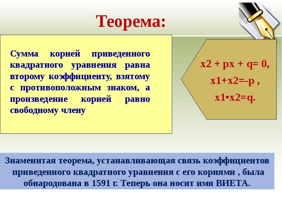 Теорема: Знаменитая теорема, устанавливающая связь коэффициентов приведенного...