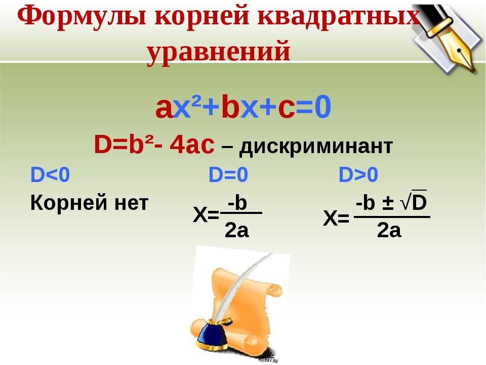 Формулы корней квадратных уравнений ах²+bх+с=0 D=b²- 4ac – дискриминант D0 Ко...