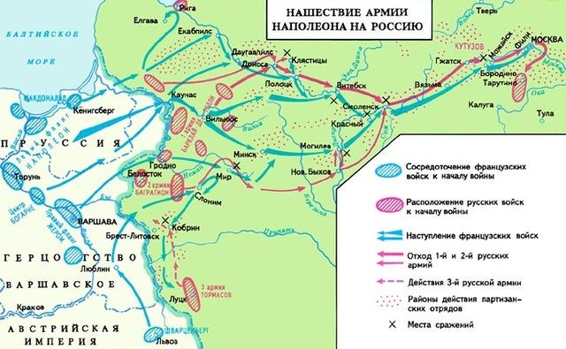 Описание: Нашествие Наполеона на Россию (карта). Наполеоновские войны.