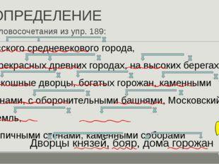 ОПРЕДЕЛЕНИЕ Словосочетания из упр. 189: Дворцы князей, бояр, дома горожан Рус