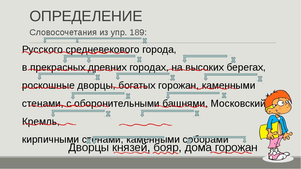 ОПРЕДЕЛЕНИЕ Словосочетания из упр. 189: Дворцы князей, бояр, дома горожан Рус...