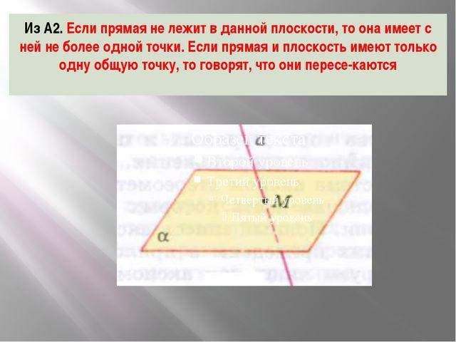 Из А2. Если прямая не лежит в данной плоскости, то она имеет с ней не более о...