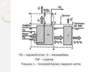 ПК – паровой котел; Э – экономайзер ГМГ – горелка Рисунок 1 – Тепловой балан