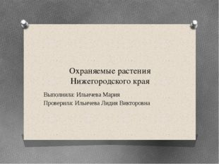 Охраняемые растения Нижегородского края Выполнила: Ильичева Мария Проверила: