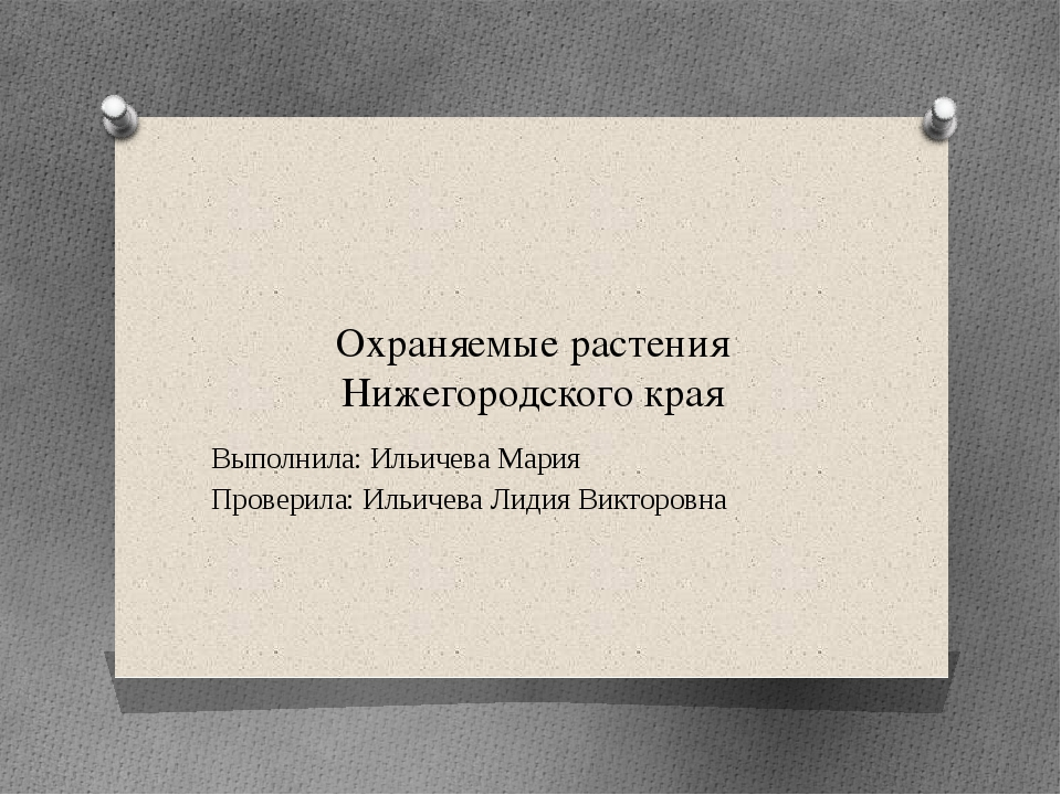 Охраняемые растения Нижегородского края Выполнила: Ильичева Мария Проверила:...