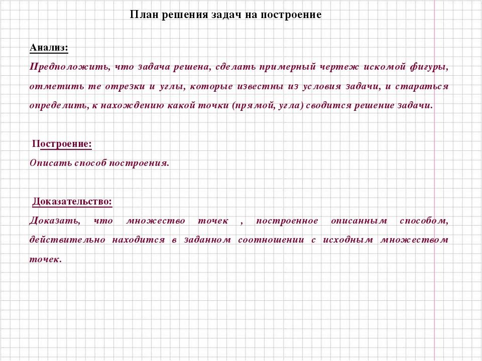 План решения задач на построение Анализ: Предположить, что задача решена, сде...