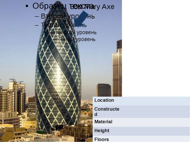 30st Mary Axe Location Constructed Material Height Floors Architect