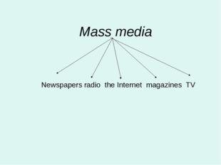 Mass media Newspapers radio the Internet magazines TV