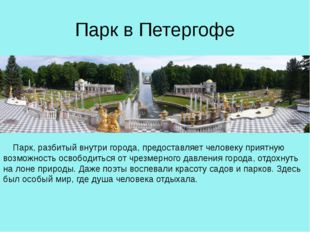 Парк в Петергофе Парк, разбитый внутри города, предоставляет человеку приятн