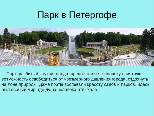 Парк в Петергофе Парк, разбитый внутри города, предоставляет человеку приятн...