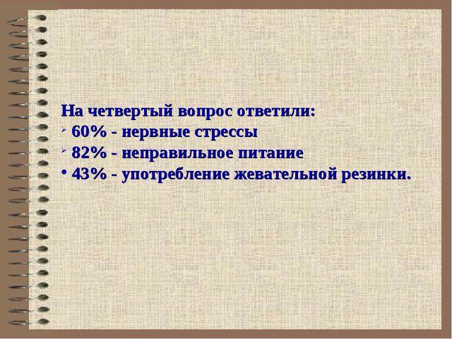 На четвертый вопрос ответили: 60% - нервные стрессы 82% - неправильное питан...