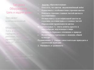 Тип урока Оборудование Цель и задачи урока Тип урока: комбинированный Оборудо