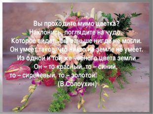 Вы проходите мимо цветка? Наклонись, поглядите на чудо, Которое видеть вы ран