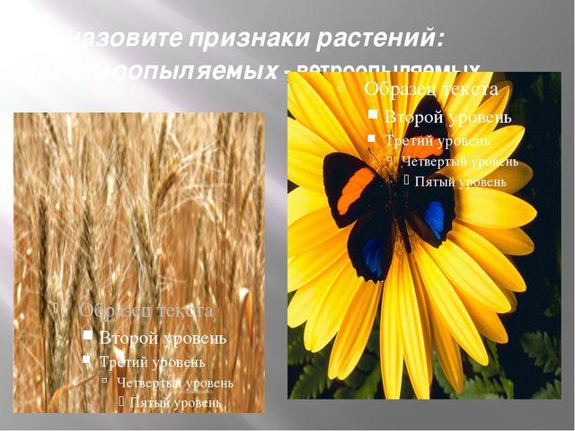 назовите признаки растений: насекомоопыляемых - ветроопыляемых