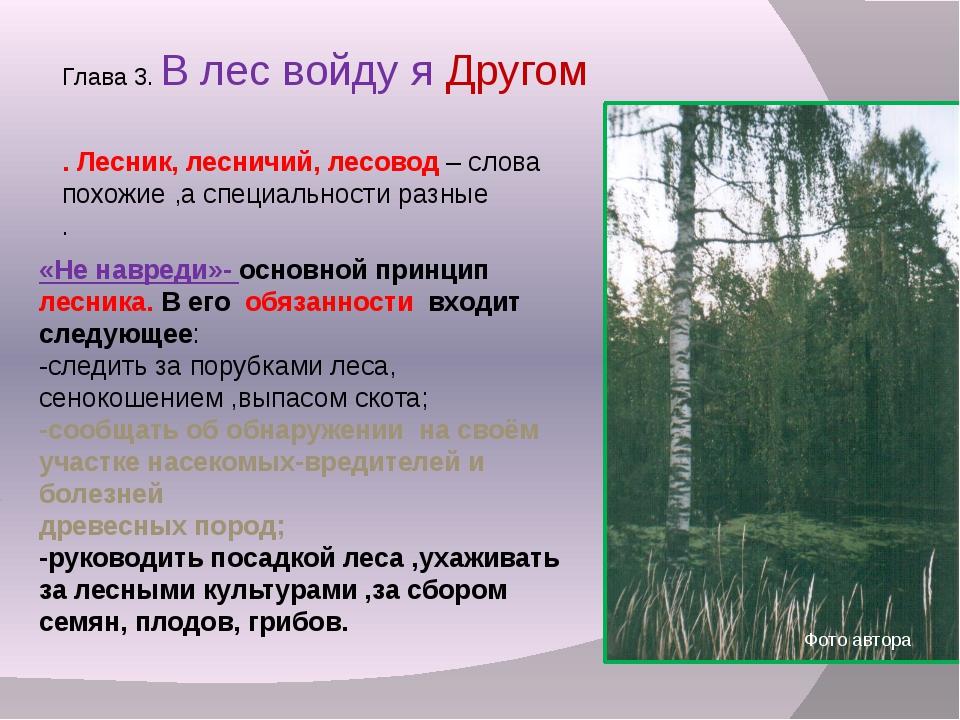 Глава 3. В лес войду я Другом . Лесник, лесничий, лесовод – слова похожие ,а...
