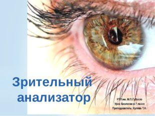 Зрительный анализатор РТЛ им. М.П.Губогло Урок биологии в 7 лассе Преподавате