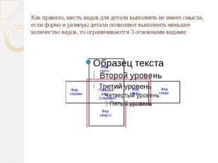 Как правило, шесть видов для детали выполнять не имеет смысла, если форма и р
